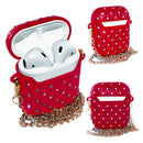 Red AirPods Glitter Case With Necklace
