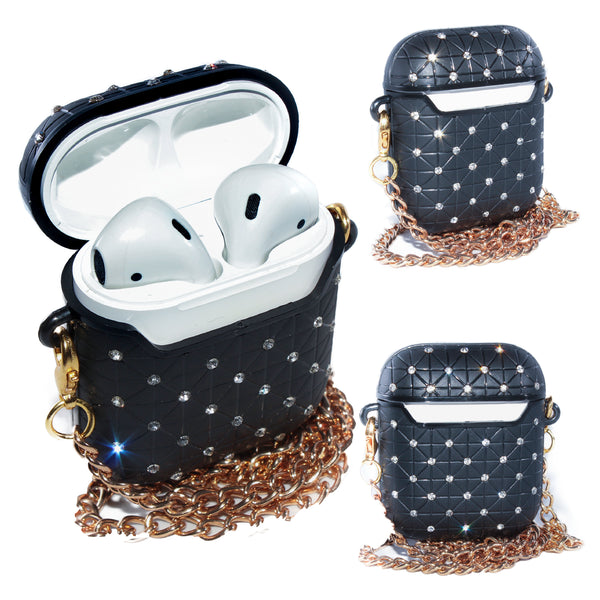 Black AirPods Glitter Case With Necklace