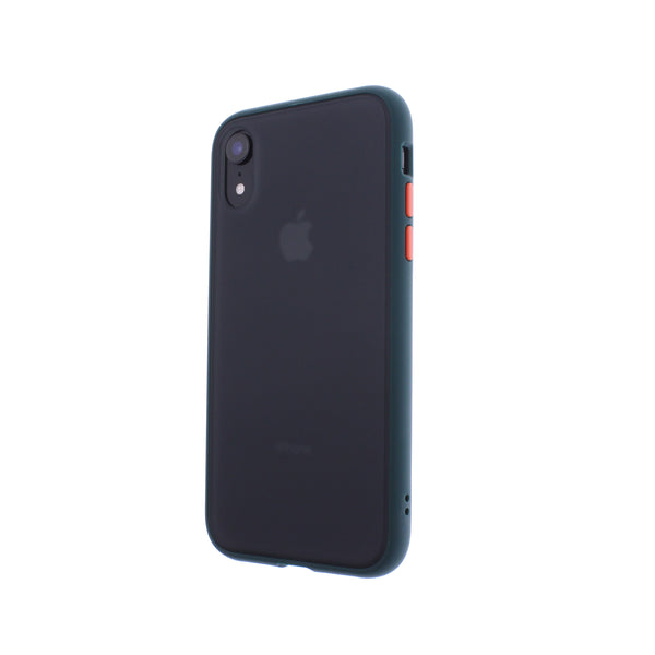 Green TPU Frame Orange Button Soft Texture iPhone XR