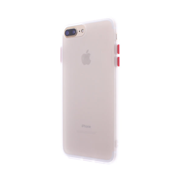 White TPU Frame Red Button Soft Texture iPhone 6/7/8 Plus