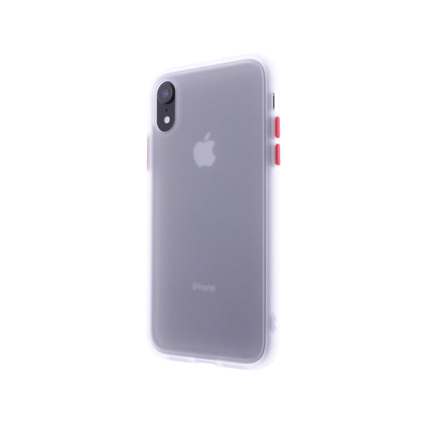 White TPU Frame Red Button Soft Texture iPhone XR