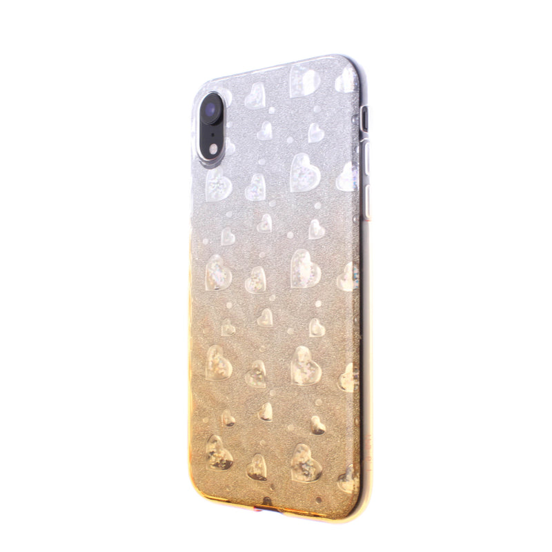 iPhone XR Glitter TPU Two Tone with Hearts Gold