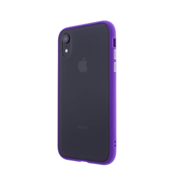 Purple TPU Frame White Button Soft Texture iPhone XR