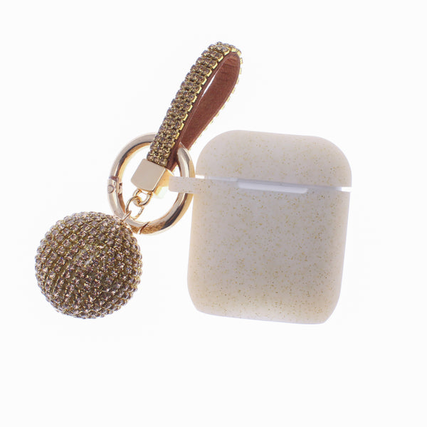 Gold GLITTER AirPods Case with Glitter Keychain Ball