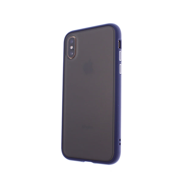 Blue TPU Frame White Button Soft Texture iPhone XR