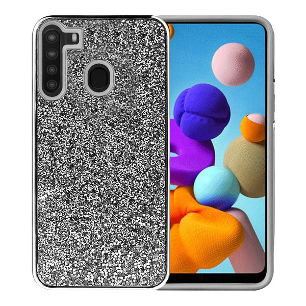 Samsung Galaxy A21 Deluxe Glitter Diamond Case Cover - Black
