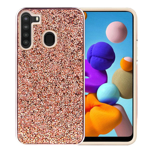 Samsung Galaxy A21 Deluxe Glitter Diamond Electroplated PC TPU Hybrid - Rose Gold