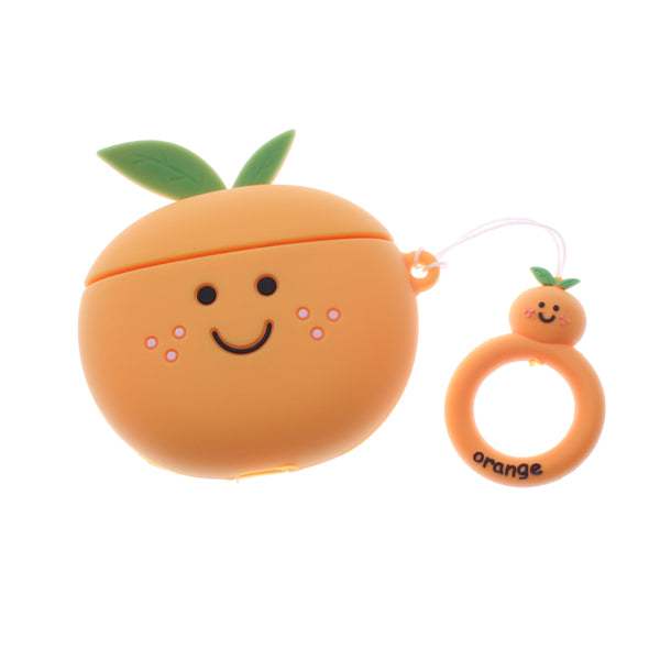 3D Design Orange Air Pods Silicone Case