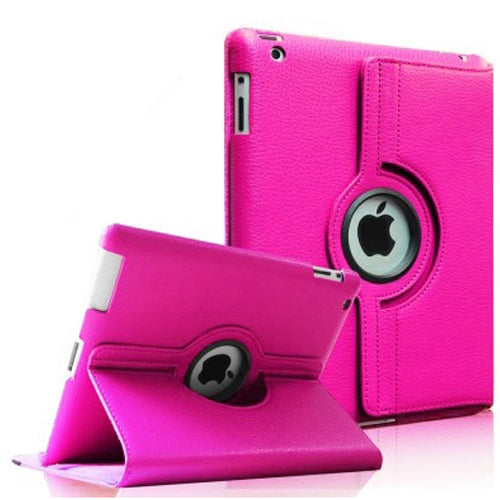 "Hot Pink iPad Air 1 / Air 2 / Pro 9.7"" / iPad 9.7"" (2017/2018) PU Leather Folio Folding 360 Case With Rubber Touch Pen Holder"