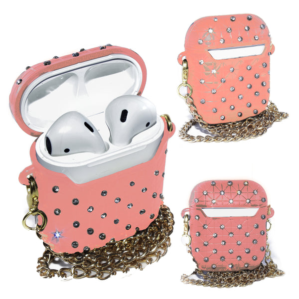 Pink AirPods Glitter Case With Necklace