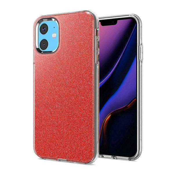 Red iPhone 11 Premium Shiny Glitter Hybrid Outer Transparent Clear PC and TPU Inside