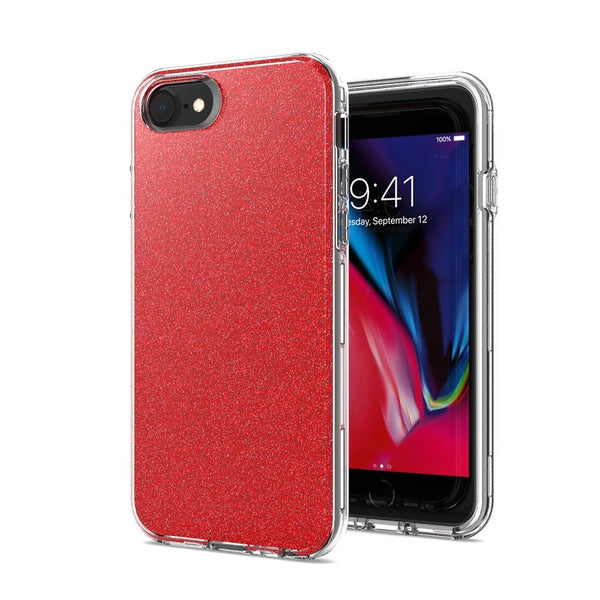 Red iPhone 8/7/6/6s Premium Shiny Glitter Hybrid Outer Transparent Clear PC and TPU Inside