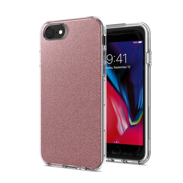 Rose Gold iPhone 8/7/6/6s Premium Shiny Glitter Hybrid Outer Transparent Clear PC and TPU Inside