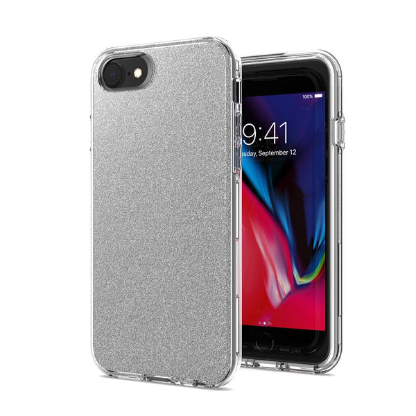 Silver iPhone 8/7/6/6s Premium Shiny Glitter Hybrid Outer Transparent Clear PC and TPU Inside
