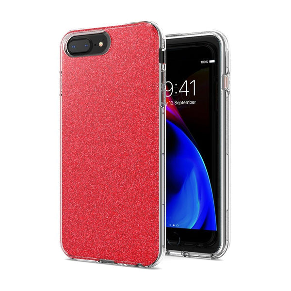 Red iPhone 8 Plus/7 Plus/6 Plus Premium Shiny Glitter Hybrid Outer Transparent Clear PC and TPU Inside