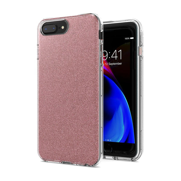 Rose Gold iPhone 8 Plus/7 Plus/6 Plus Premium Shiny Glitter Hybrid Outer Transparent Clear PC and TPU Inside