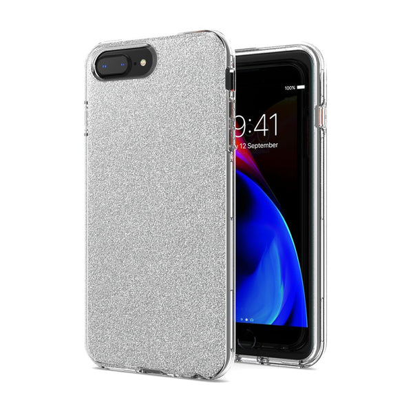 Silver iPhone 8 Plus/7 Plus/6 Plus Premium Shiny Glitter Hybrid Outer Transparent Clear PC and TPU Inside