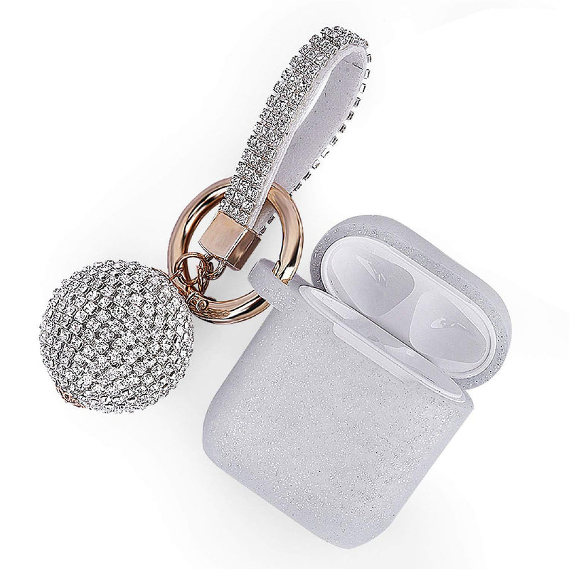 Silver GLITTER AirPods Case with Glitter Keychain Ball