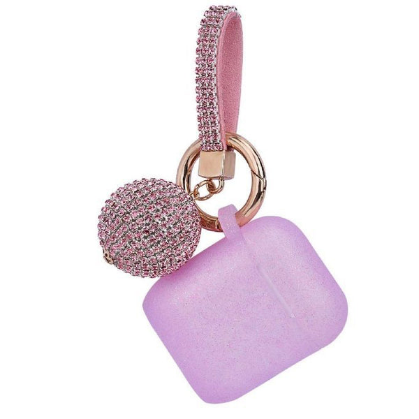 Pink GLITTER AirPods Case with Glitter Keychain Ball