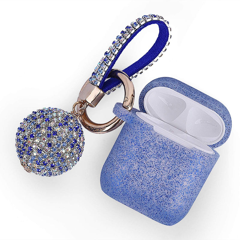 Blue GLITTER AirPods Case with Glitter Keychain Ball
