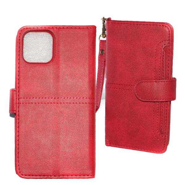 Red iPhone 11 PRO Folio Wallet Premium Detachable case