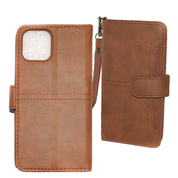 Brown iPhone 11 PRO MAX Folio Wallet Premium Detachable case