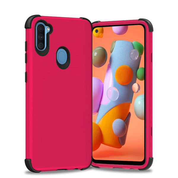 Samsung Galaxy A11 King Tough Shockproof Hybrid Case Cover - Hot Pink PC/Black