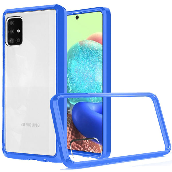 Samsung A71 5G UW Version Clear Transparent Hybrid Case Cover - Clear PC + Blue TPU