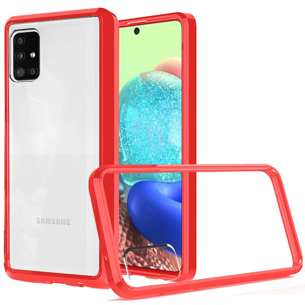 Samsung A71 5G UW Version Clear Transparent Hybrid Case Cover - Clear PC + Red TPU