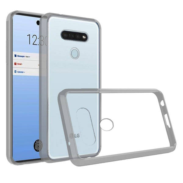 LG K51 Bumper Premium Slim Clear Transparent Hard PC TPU Hybrid - Clear PC + Clear TPU