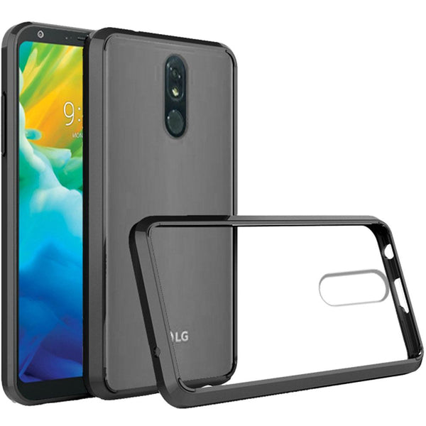 LG Stylo 5 Bumper Premium Slim Clear Transparent Hard PC TPU Hybrid - Clear PC + Black TPU