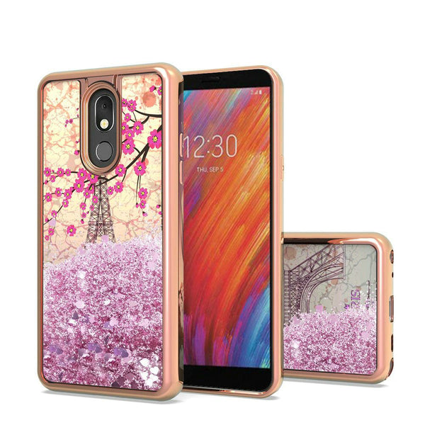 LG Aristo 4 Plus, Escape Plus, Tribute Royal Design Water Quicksand Glitter Chrome TPU - Eiffel Tower Paris