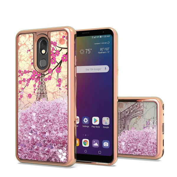 LG Stylo 5 Design Water Quicksand Glitter Chrome TPU - Eiffel Tower Paris