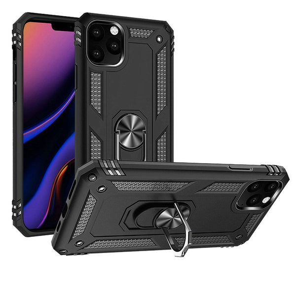 Black iPhone 11 PRO Magnetic Ring Slim Shockproof PC TPU Hybrid