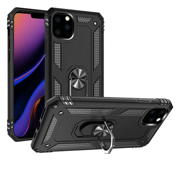 Black iPhone 11 Pro MAX Magnetic Ring Slim Shockproof PC TPU Hybrid