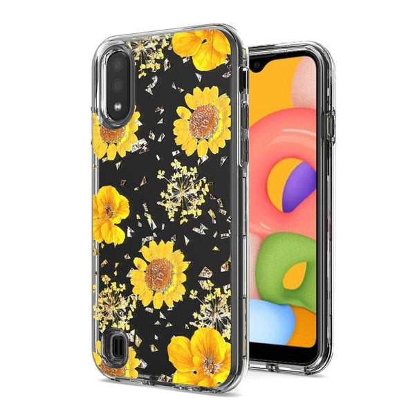 Samsung A01 Floral Glitter Design Case Cover - Yellow Flowers