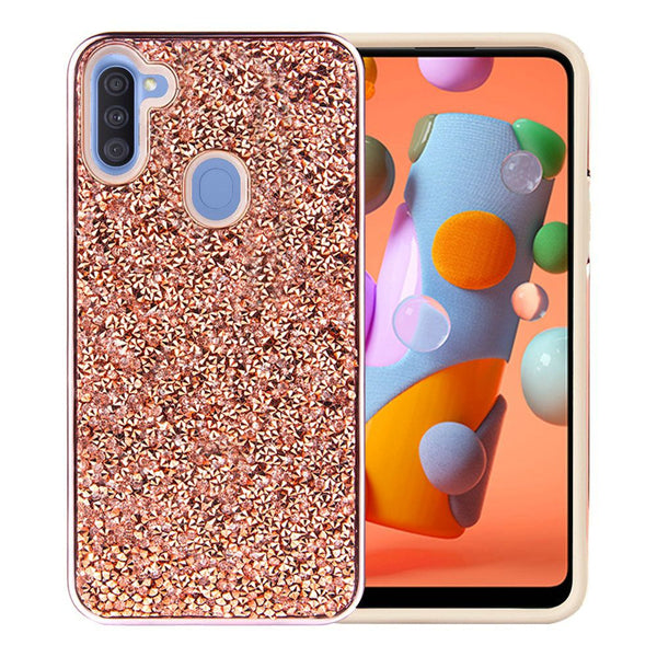 Samsung Galaxy A11 Deluxe Glitter Diamond Case Cover - Rose Gold