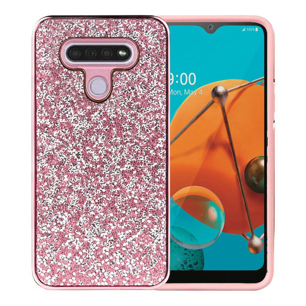 LG K51 Deluxe Glitter Diamond Electroplated PC TPU Hybrid - Pink