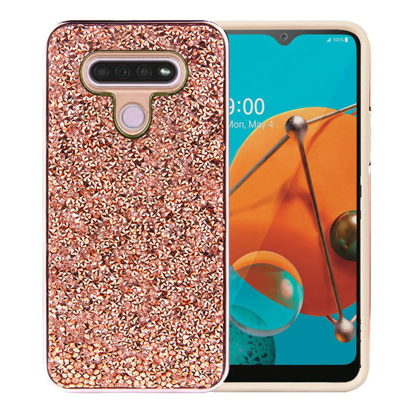 LG K51 Deluxe Glitter Diamond Electroplated PC TPU Hybrid - Rose Gold
