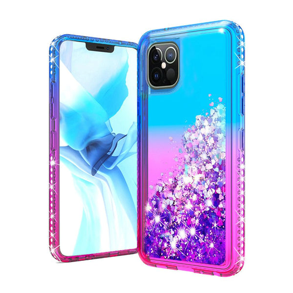 "Apple iPhone 12 6.1"" Two Tone Diamond Water Quicksand Glitter - Blue+Hot Pink"