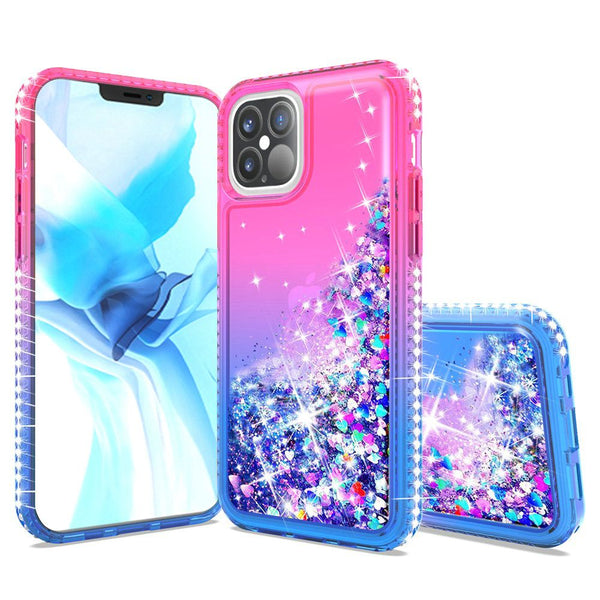 Apple iPhone 12 6.7 inch Two Tone Diamond Water Quicksand Glitter - Hot Pink/Dark Blue