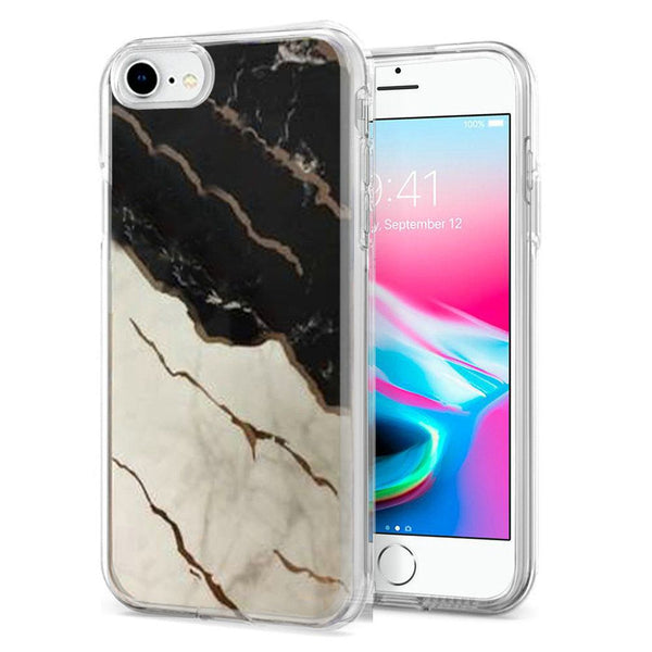 Apple iPhone SE2 (2020) 8/7/6/6s Electroplated Design Hybrid Case Cover - Marble