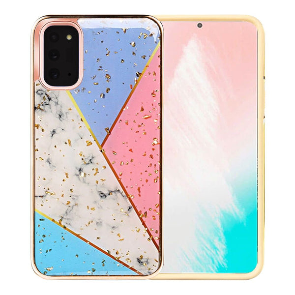 Samsung Galaxy Note 20 Luxury Chrome Glitter Design Case Cover - Colorful Marble
