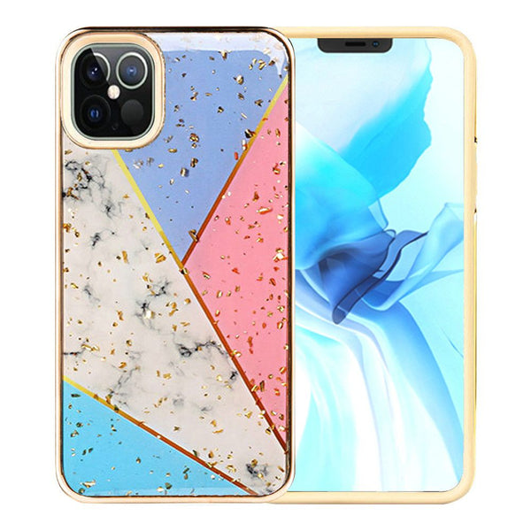 iPhone 12 Pro Max 6.7 Luxury Chrome Glitter Design Case Cover - Colorful Marble