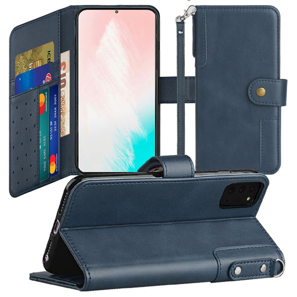 Samsung Galaxy Note 20 5G Retro Wallet Card Holder Case Cover - Dark Blue