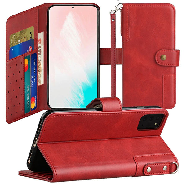 Samsung Galaxy Note 20 5G Retro Wallet Card Holder Case Cover - Red