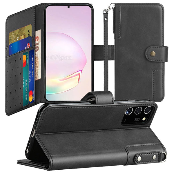 Samsung Galaxy Note 20 5G Retro Wallet Card Holder Case Cover - Black