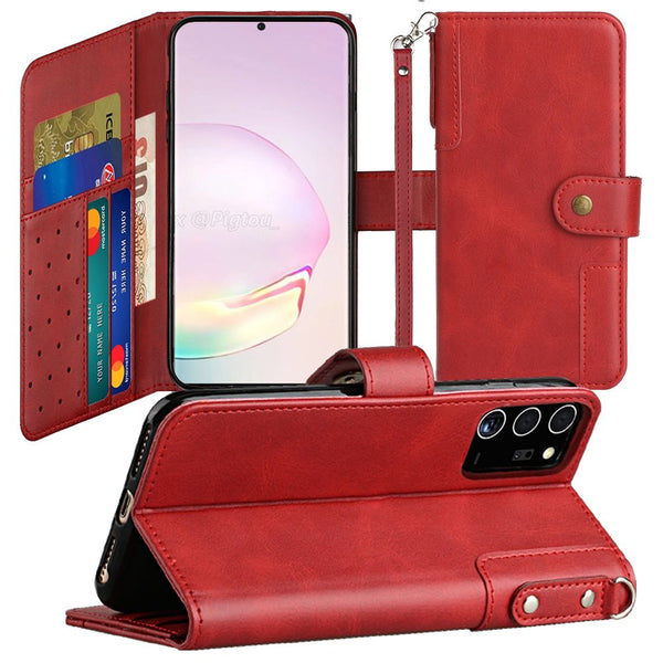 Samsung Galaxy Note 20 Ultra 5G Retro Wallet Card Holder Case Cover - Red