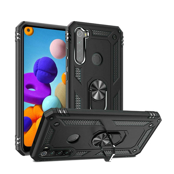 Samsung Galaxy A21 Ring Magnetic Kickstand Hybrid Case Cover - Black