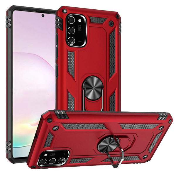 Samsung Galaxy Note 20 Plus Ring Magnetic Kickstand Hybrid Case Cover - Red